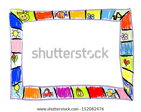 Color Doodles Frame - stock vector