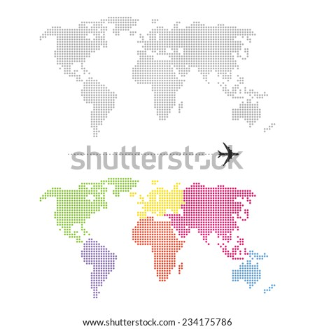 Color Dotted World Map - stock vector