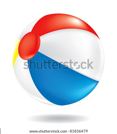 Color drawing of a beach ball on the floor