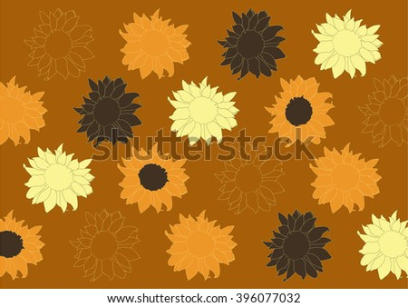 Color drawing vector isolated sunflowers on brown background