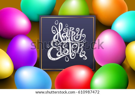 Color eggs happy easter lettering modern calligraphy, vector art