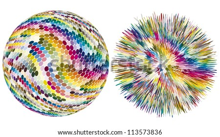 Color explosion. Artistic vector sphere with dots is exploding in hundreds of different colors - stock vector
