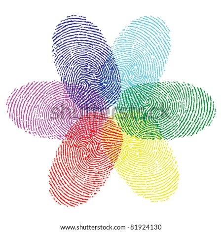 color fingerprint flower vector - stock vector