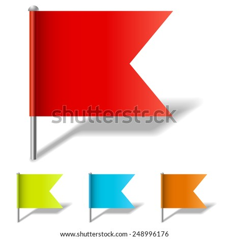 Color flag pin vector template isolated on white background. - stock vector