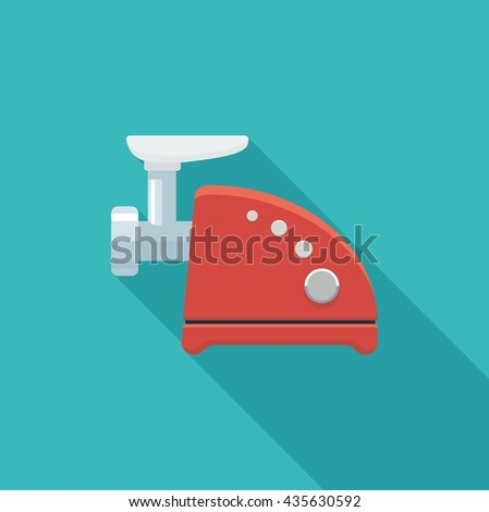 Color flat icon meat grinder. Vector illustration - stock vector