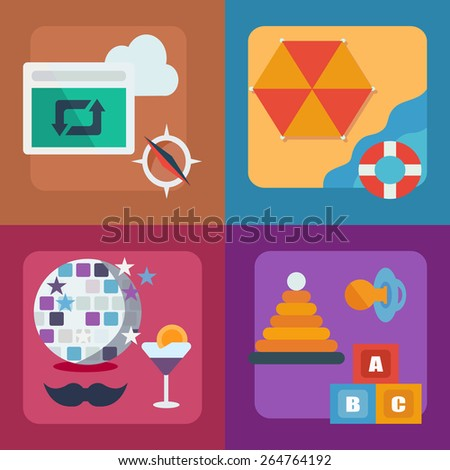 Color flat icons - stock vector