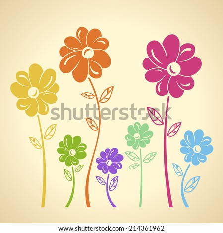 Color flowers pattern. Vector background. Green yellow blue red set - stock vector
