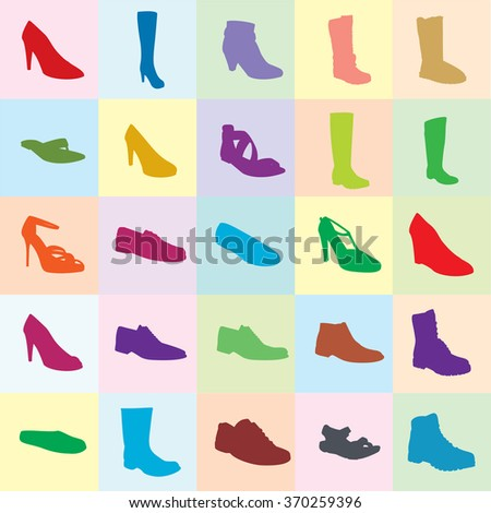 Color footwear set, silhouettes, color background. Ankle boot, biker boot, business shoe, heel-strap sandals, men sandal, moccasin, outdoor boots, rubber boots, sandals, snow boots, trainers. Footwear - stock vector