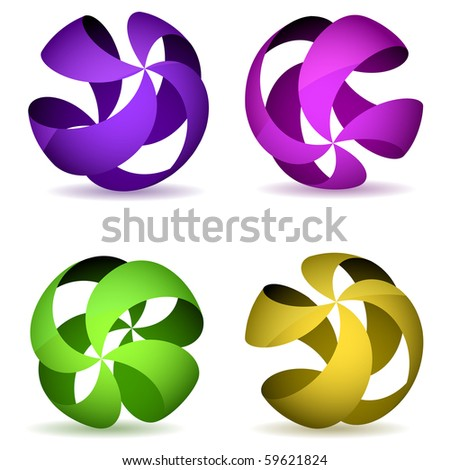 Color four striped wireframe spheres. - stock vector
