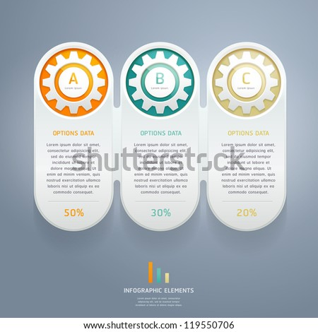 Color Gears Infographics Number Options Banner & Card. Vector illustration - stock vector
