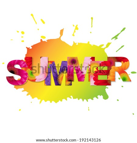 Color Gerbers Summer Poster, Vector Illustration - stock vector