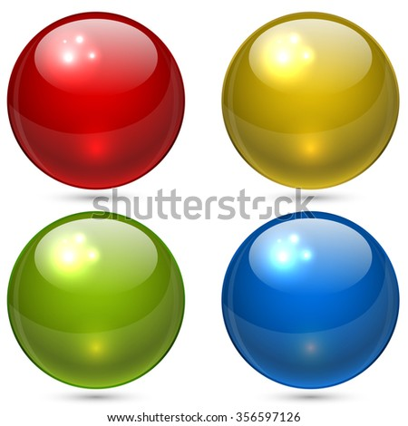 Color glass glossy spheres vector set isolated on white background. - stock vector