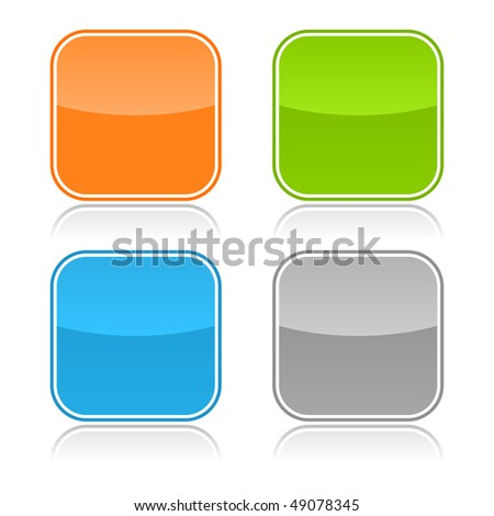 Color glassy blank web button with gray reflection on white - stock vector