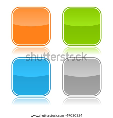 Color glassy blank web button with reflection on white