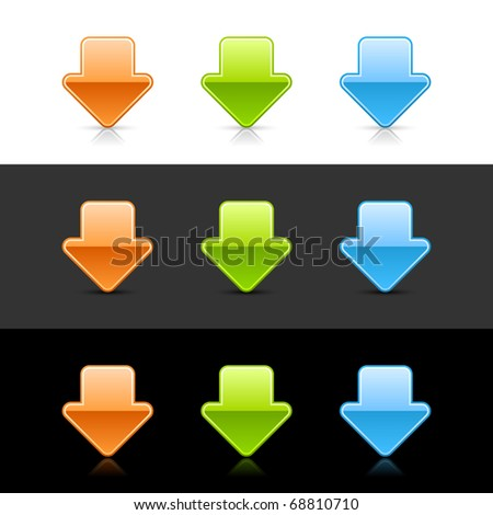 Color glossy arrow down icon web 2.0 buttons with reflection and shadow on white, gray and black - stock vector