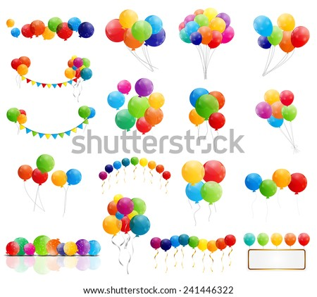 Color Glossy Balloons Mega Set Vector Illustration - stock vector