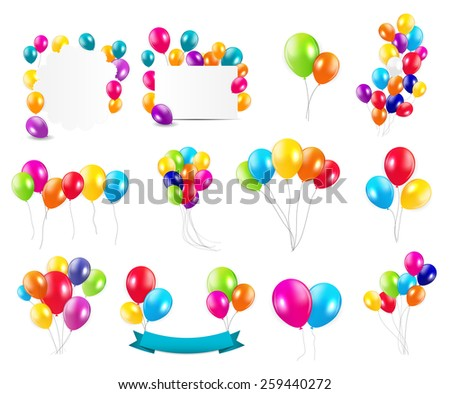 Color Glossy Balloons  Mega Set Vector Illustration EPS10 - stock vector