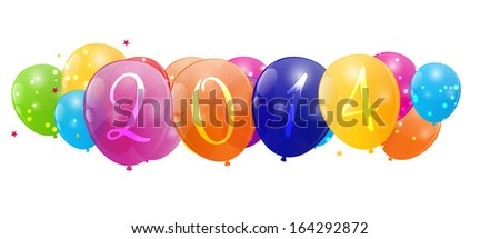 Color glossy balloons 2014 new year background vector illustration - stock vector