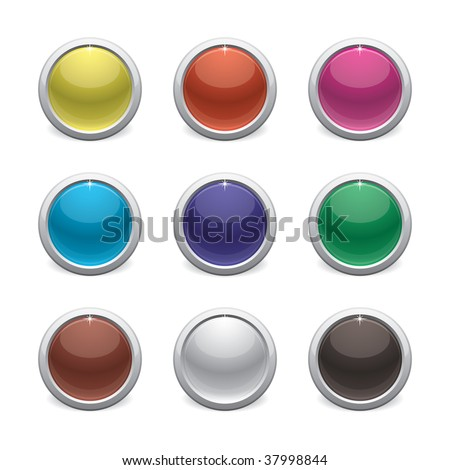 color glossy buttons on white  background