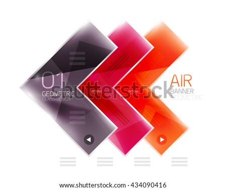 Color glossy glass arrow banner. Vector - stock vector