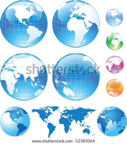Color glossy globes and map - stock vector
