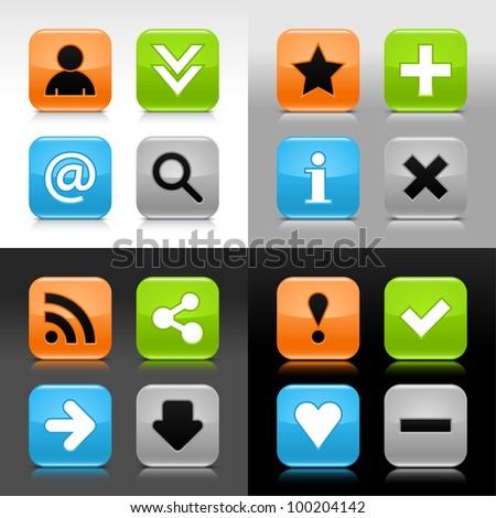 Color glossy web button with basic signs. Rounded square internet icon with shadow and reflection on white, gray, black background. Vector saved in 8 eps.