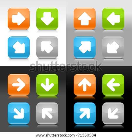 Color glossy web button with white arrow sign. Rounded square shape internet icon with shadow and reflection on gray scale background. This vector illustration saved in 8 eps