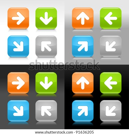 Color glossy web internet button with arrow sign. Rounded square icon with shadow and reflection on four background. This vector saved in 8 eps. Do not contain effects and transparency - stock vector