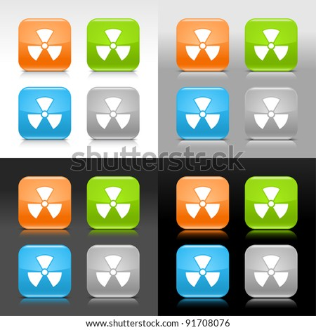Color glossy web internet button with radiation sign. Rounded square icon with shadow and reflection on four background. This vector saved in 8 eps. Do not contain effects and transparency - stock vector
