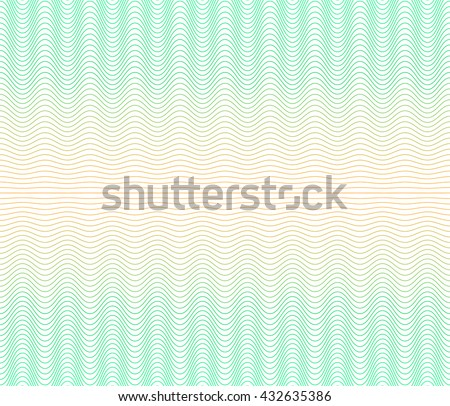 Color gradient background with waves. The protective layer for banknotes, diplomas and certificates. Security Papers ground. Guilloche seamless background - stock vector