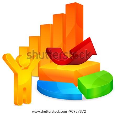 Color graph, circular diagrams, arrow and person symbol, vector illustration - stock vector