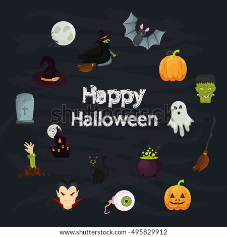 Color Halloween elements set in Cartoon style. Stock Vector icon. Illustration for web and mobile design