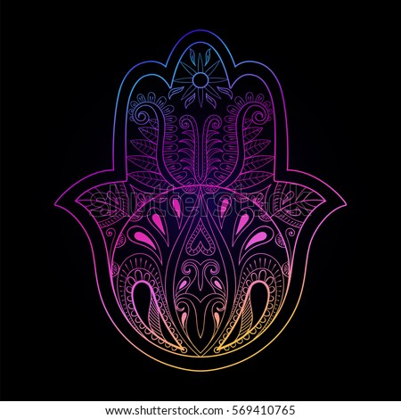 Color Hamsa Hand Vector Illustration Drawn Symbol Of Prayer For Adult Anti Stress Coloring