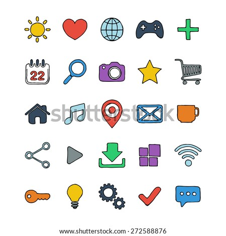Color hand drawn internet, web icons set. Vector illustration. - stock vector