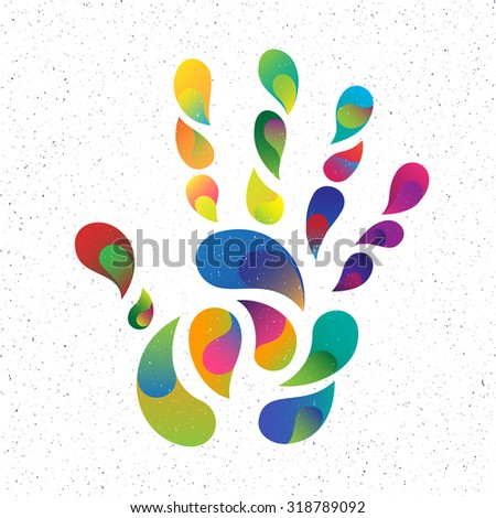 Color handprint. Color drops shape of the hand and fingers - stock vector
