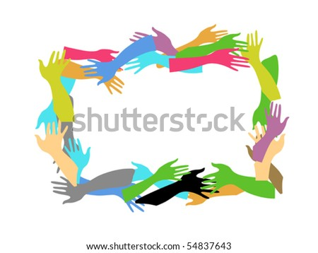 color hands frame - stock vector