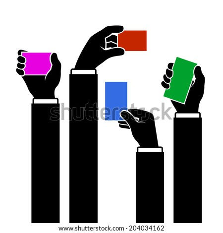 Color Hands Holding Blank Business Card, Vector illustration - stock vector