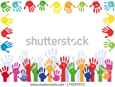 Color Hands Palms Background Stock Vector 174059915