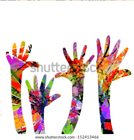 Color hands up - stock vector