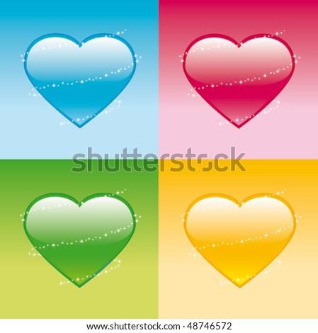 Color Hearts - stock vector