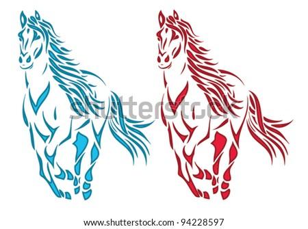color horses illustration - vector - stock vector