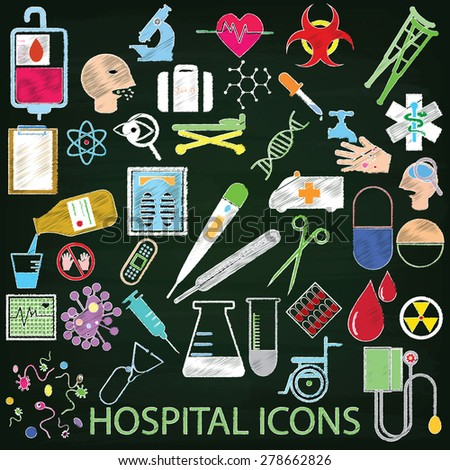 color hospital icons hand drawing by color chalk