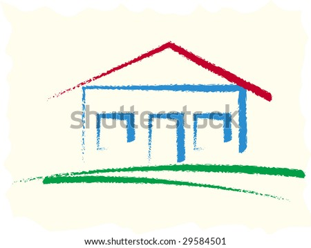 Color house illustration with abstract background - stock vector