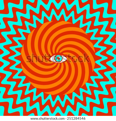Color hypnotic retro poster with eye - stock vector