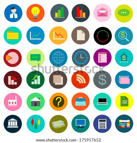 Color Icon Set Business vector illustration