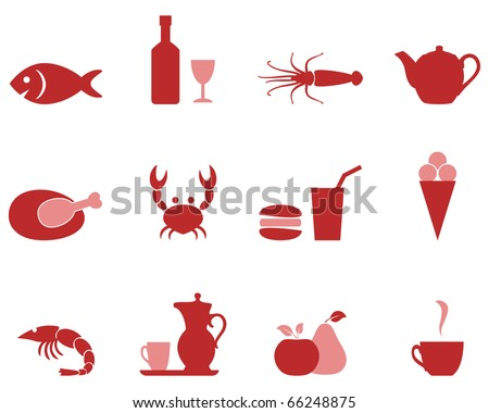 Color icons food set vector format. - stock vector