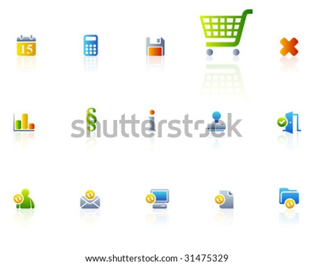 color icons | set 13 - stock vector