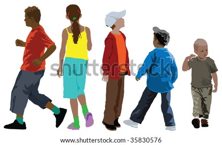 Color illustration of five kids collection in different age. Summer clothes.
