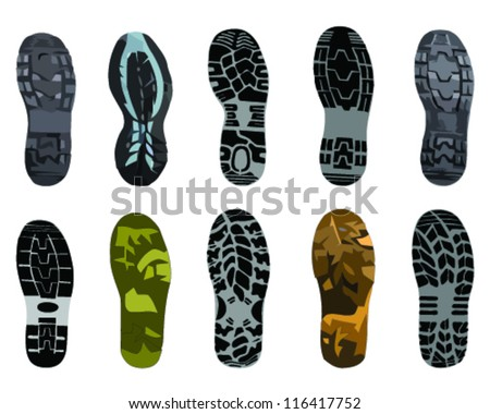 Color illustration of various shoe print-vector - stock vector