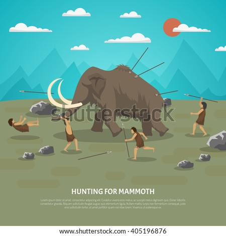 Color illustration showing hunting for mammoth caveman in prehistoric stone age with title vector illustration - stock vector